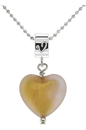 Women Necklaces - Caramel Colour Murano Heart Pendant with Chain of Length 46 cm
