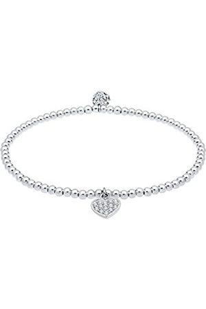 Elli Women's 925 Sterling Silver Heart Swarovski Crystals Bracelet 18 cm