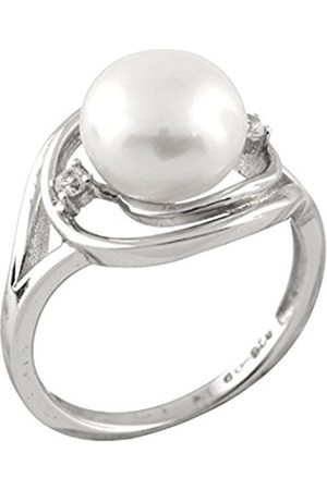 Women Rings - Cubic Zirconia Freshwater Pearl and Sterling Silver Ring - Size N