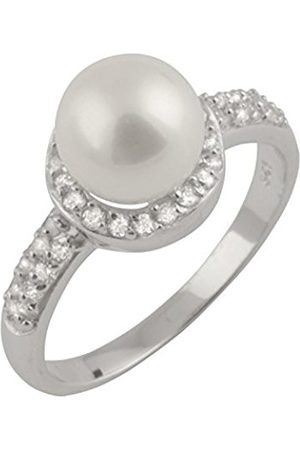 Women Rings - Sterling Silver Freshwater Pearl and Cubic Zirconia Halo Ring-Size L