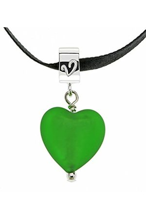 Amanti Venezia Emerald Colour Murano Heart Pendant on Black Ribbon of Length 40 cm