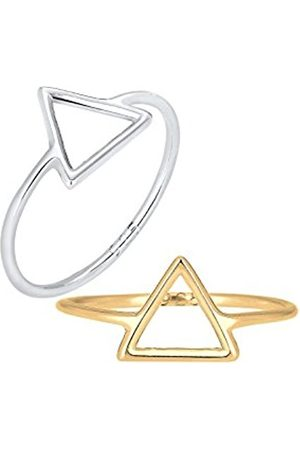 Women Rings - Women's Set 925 Sterling Triangle-Shape Ring - Size Q
