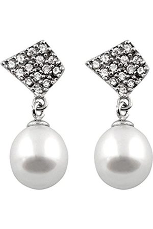 Women Earrings - Freshwater Pearl and Cubic Zirconia Drop Sterling Silver Earrings