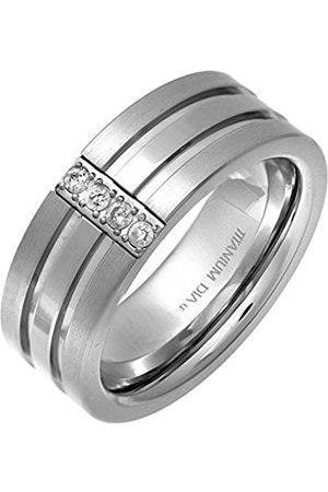 Men Rings - THEIA Titanium Flat Court Shape Round Diamond Pave Set Matt Centre 8mm Ring - Size P