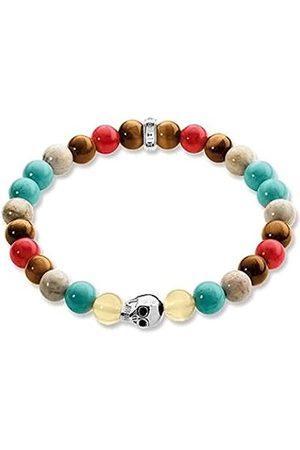 Women Bracelets - Thomas Sabo Rebel at Heart Women's Bracelet Skulls Gold Tigers Eye Jasper 19 cm A1514 883 7 Blue 925 Turquoise 19