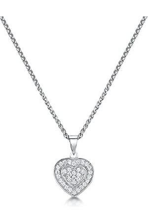 Women Necklaces - Microset Cubic Zirconia Heart Pendant with Rhodium Plating in Sterling Silver of 41-46cm