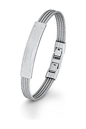 Men Bracelets - s.Oliver S. Oliver Mens Stainless Steel 21.5 cm – Bracelet Adjustable Snap Closure 566445