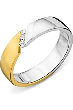 Miore Ladies 925 Sterling Silver Zirconia Partly Gold Plated Wedding Band - Size N