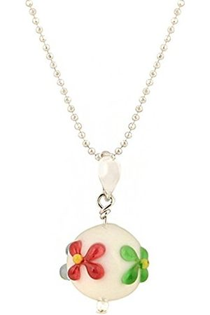 Women Necklaces - Exclusive Floral Murano Glass Stud Drop Pendant on a Chain of 46cm