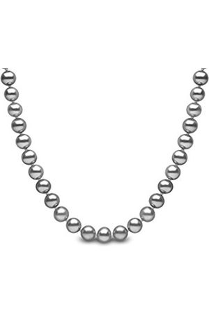 Girls Necklaces - 9 ct 7 mm Grey Semi Round Cultured Freshwater Pearl Necklace of 16-inch