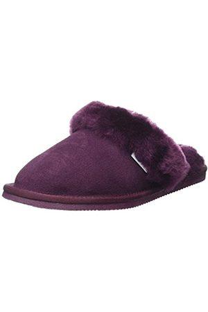 Women Slippers - Elsie Sheepskin Mule Slipper with Cuff and Rubber Sole, (Plum)
