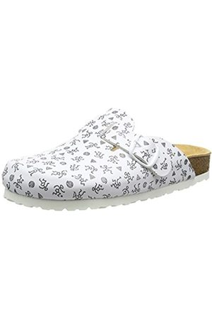 Women Flat Shoes - LICO Womens Bioline Clogs Print Flat Slippers White Size: 3.5