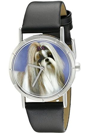 Watches - Shihtzu Black Leather and Silvertone Photo Unisex Quartz Watch with Dial Analogue Display and Leather Strap R-0130069