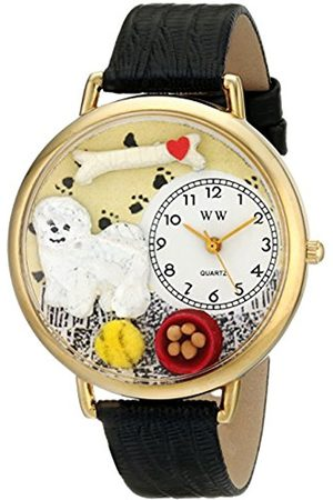 Watches - Bichon Black Skin Leather and Goldtone Unisex Quartz Watch with Dial Analogue Display and Leather Strap G-0130010