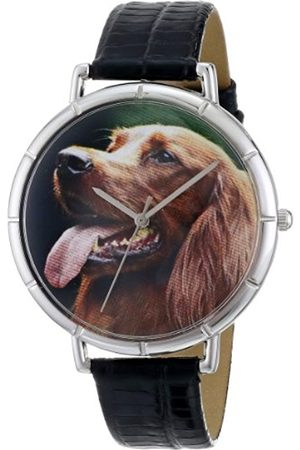 Watches - Irish Setter Black Leather and Silvertone Photo Unisex Quartz Watch with Dial Analogue Display and Leather Strap T-0130047