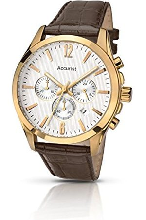 Men Watches - Men's Quartz Watch with Dial Chronograph Display and Leather Strap Ms641S
