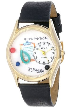 Watches - Physical Therapist Black Leather and Goldtone Unisex Quartz Watch with Dial Analogue Display and Leather Strap C-0610006