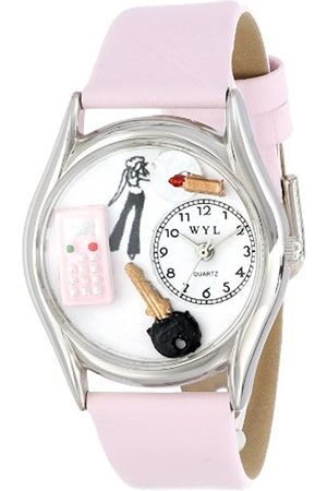 Watches - Teen Girl Pink Leather and Silvertone Unisex Quartz Watch with Dial Analogue Display and Leather Strap S-0420004