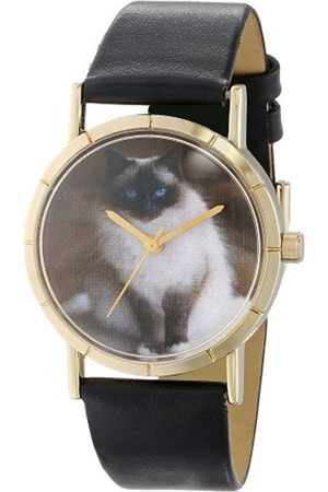 Watches - Birman Cat Black Leather and Goldtone Photo Unisex Quartz Watch with Dial Analogue Display and Leather Strap P-0120027