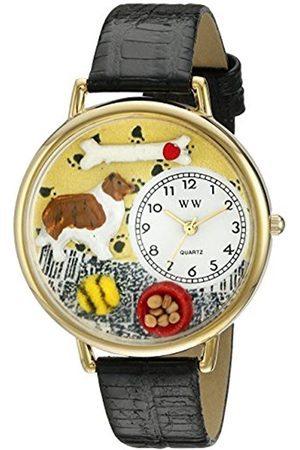 Watches - Collie Black Skin Leather and Goldtone Unisex Quartz Watch with Dial Analogue Display and Leather Strap G-0130004