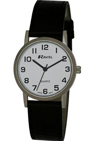 Men Watches - Ravel Large Case Fashion on PU Strap Men's Quartz Watch with Dial Analogue Display and Plastic Strap R0102.02.1