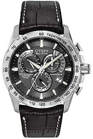 Men Watches - Citizen Men's Eco-Drive Chronograph Watch with a Dial and a Leather Strap AT4000-02E