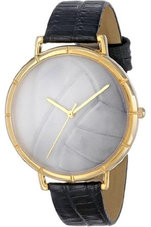 Watches - Volleyball Lover Black Leather and Goldtone Photo Unisex Quartz Watch with Dial Analogue Display and Leather Strap N-0840015