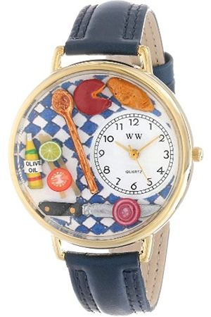 Watches - Gourmet Navy Blue Leather and Goldtone Unisex Quartz Watch with Dial Analogue Display and Leather Strap G-0310001