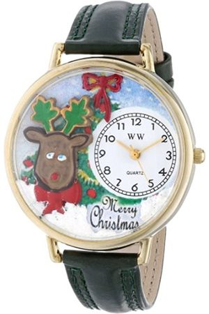 Watches - Christmas Reindeer Hunter Green Leather and Goldtone Unisex Quartz Watch with Dial Analogue Display and Leather Strap G-1220012
