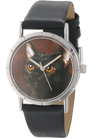 Watches - Bombay Cat Black Leather and Silvertone Photo Unisex Quartz Watch with Dial Analogue Display and Leather Strap R-0120037