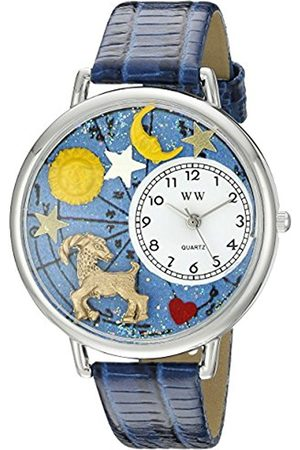 Watches - Capricorn Royal Blue Leather and Silvertone Unisex Quartz Watch with Dial Analogue Display and Leather Strap U-1810005