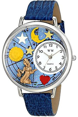 Watches - Virgo Royal Blue Leather and Silvertone Unisex Quartz Watch with Dial Analogue Display and Leather Strap U-1810002