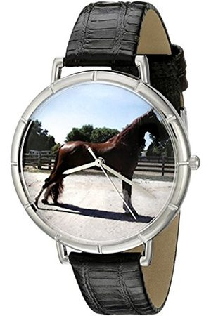 Watches - Tenessee Walker Horse Black Leather and Silvertone Photo Unisex Quartz Watch with Dial Analogue Display and Leather Strap T-0110031