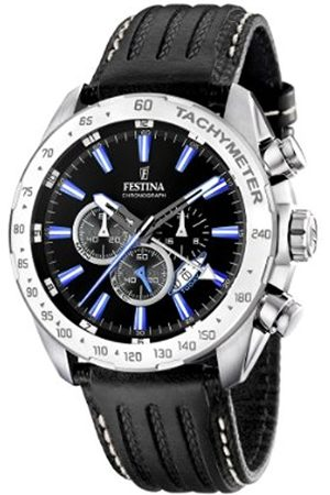 Men Watches - Festina Men's Chrono Watch F16489/3 With Leather Strap