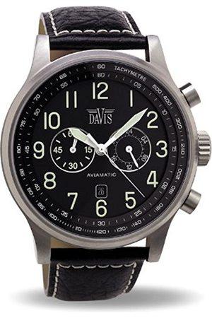 Davis 0450 - Mens Aviator Watch Chronograph Waterresist 50M Dial Date Leather Strap