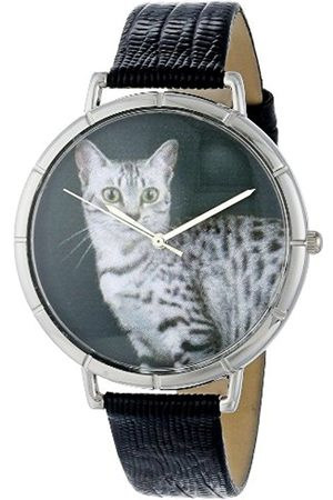 Watches - Egyptian Mau Cat Black Leather and Silvertone Photo Unisex Quartz Watch with Dial Analogue Display and Leather Strap T-0120041
