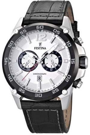 Men Watches - Festina Men's Quartz Watch with Dial Chronograph Display and Leather Strap F16673/1