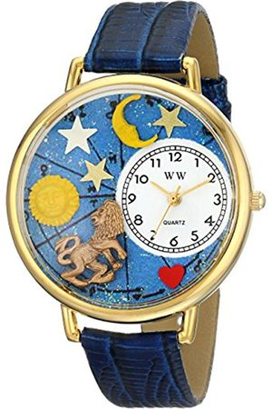 Watches - Leo Royal Blue Leather and Goldtone Unisex Quartz Watch with Dial Analogue Display and Leather Strap G-1810007