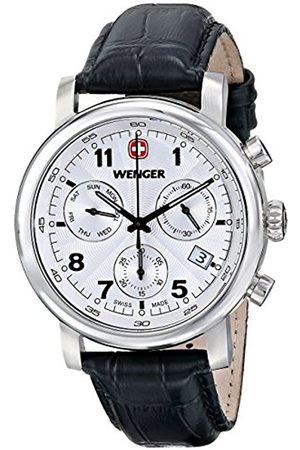Men Watches - Wenger Urban Classic Chrono Men's Quartz Watch with Dial Analogue Display and Leather Strap 011043105