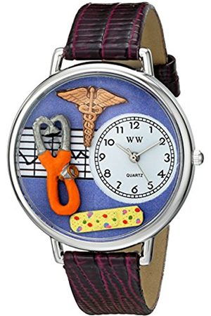 Women Watches - Whimsical Watches Nurse 2 in Silver Women's Quartz Watch with Dial Analogue Display and Leather Strap U-0620050