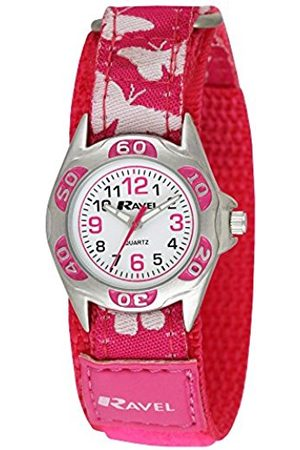 Ravel Girl's Pink Butterfly Patterned Easy Fasten Strap Watch