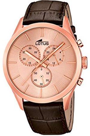 Men Watches - Lotus Men's Quartz Watch with Black Dial Analogue Display Quartz Leather 18121/1
