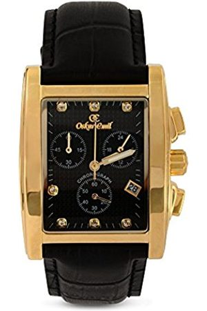 Oskar Emil Men's Quartz Watch with Dial Chronograph Display and Leather Strap Rodez Gold/