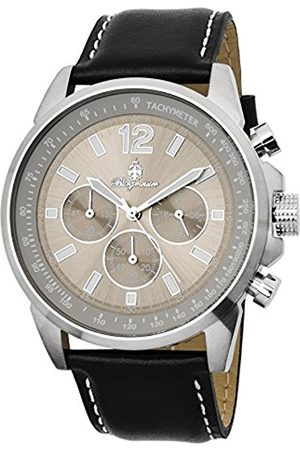 Men Watches - Men's Quartz Watch with Dial Chronograph Display and Leather Bracelet BM608-112