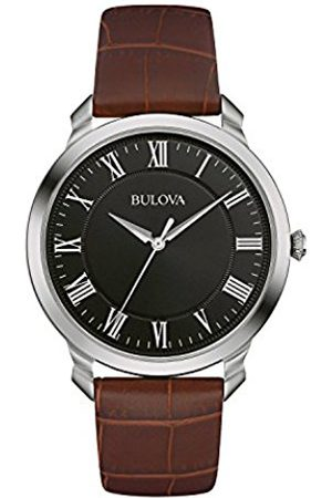Bulova Men's Designer Watch Leather Strap - Black Classic Dress Wrist Watch 96A184