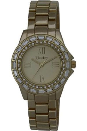 Women Watches - Ladies Yellow Diamante Fashion Women's Quartz Watch with Dial Analogue Display and Rose Plated Stainless Steel Bracelet H07224.2