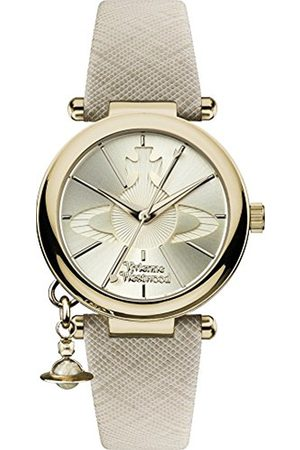 Vivienne Westwood Women's Orb Pop Quartz Analogue Display Watch with Dial and Cream Leather Strap VV006GDCM