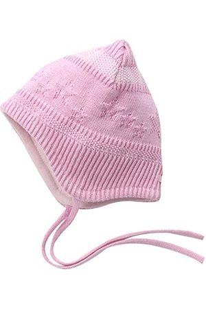 Hats - maximo Baby Girls' Kastenmütze, Ausgenäht, Bindeband, Sterne, Perlmuster Hat, Multicoloured-Mehrfarbig (Mandelblüte/Artikweiß 5901)