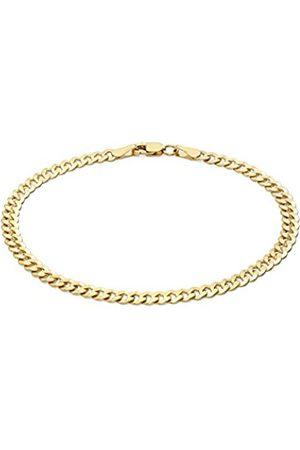 Carissima Gold Women's 9 ct Yellow Gold Diamond Cut Flat Curb Chain Bracelet of Length 19 cm