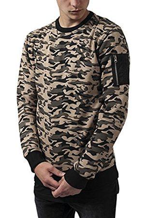 Men Sweatshirts - Urban classics Men's Sweat Bomber Crew Sweatshirt, Multicoloured-Mehrfarbig (Wood Camo 396)